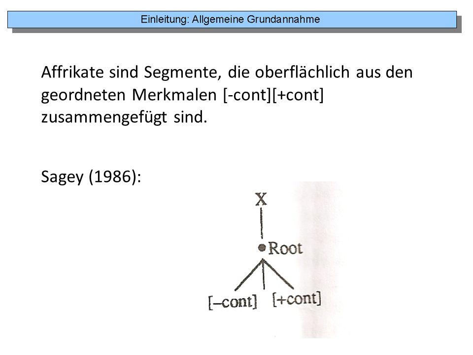 Affrikate sind Segmente, die oberflächlich aus den geordneten Merkmalen [-cont][+cont] zusammengefügt sind.